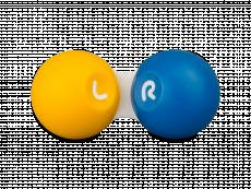 Kontaktlinsfodral i gul och blå